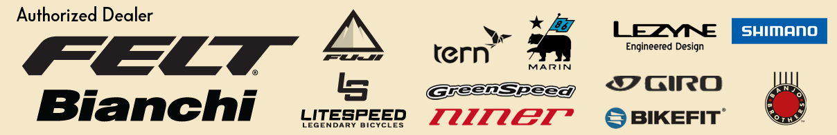 bicycle brand logos we are authorized dealers for including felt, bianchi, litespeed, fuji, tern, greenspeed, niner, lezyne, giro, bikefit and shimano